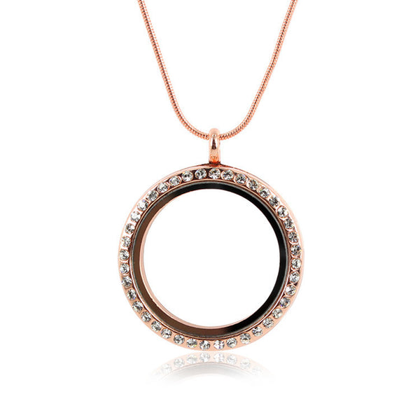 Diamante Floating Locket Necklace - Rose Gold (two different sizes)