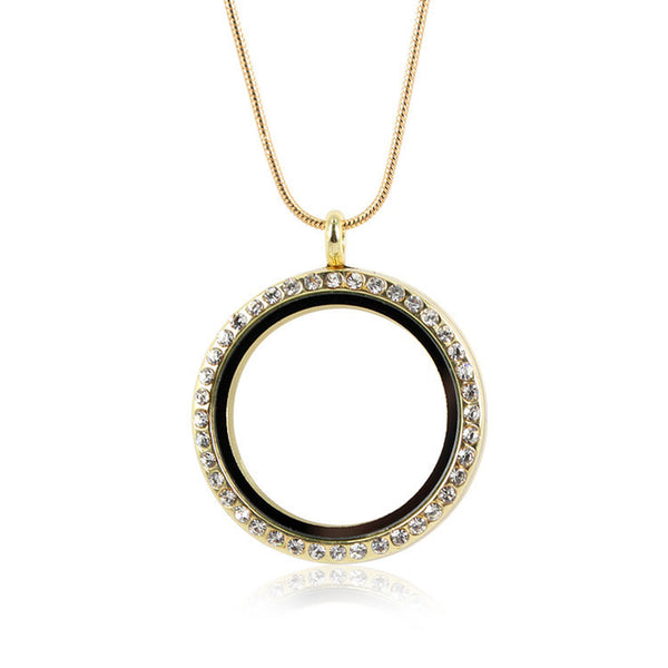Diamante Floating Locket Necklace - Gold (two different sizes)