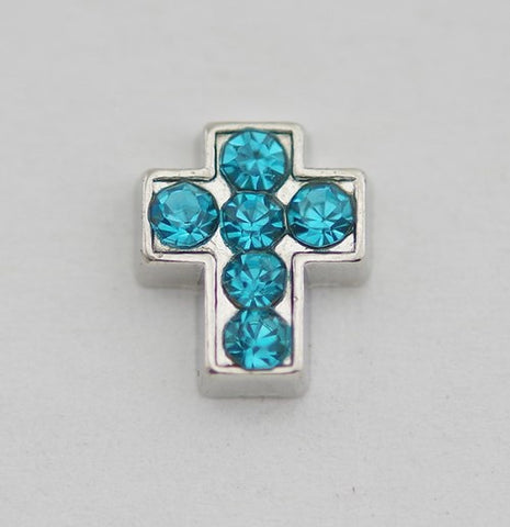 Turquoise Blue Diamante Cross Floating Charm