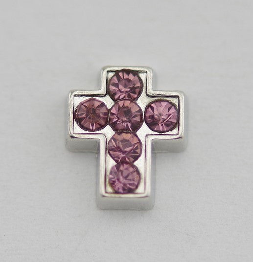 Mauvey Pink Diamante Cross Floating Charm