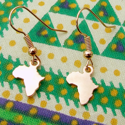 gold Africa pendant charm hanging earrings