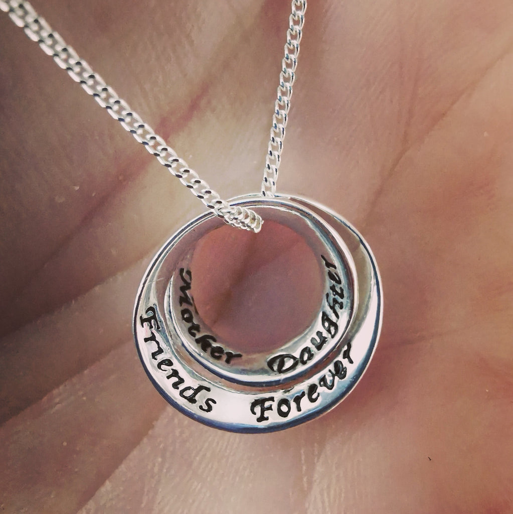 Mother~Daughter~Friends~Forever - Sterling Silver Necklace