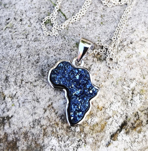 Druzy Stone Africa Sterling Silver Necklace - Peacock Blue