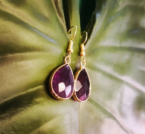 Faceted Amethyst Stone Drop Earrings