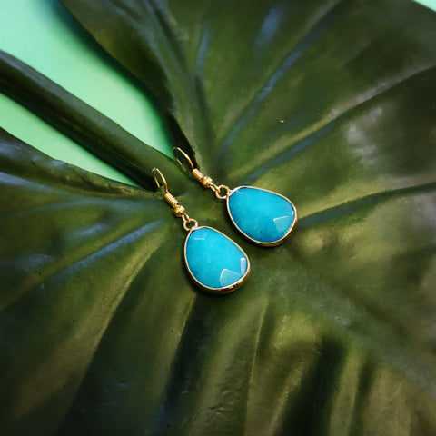Faceted Turquoise Chalcedony Stone Drop Earrings