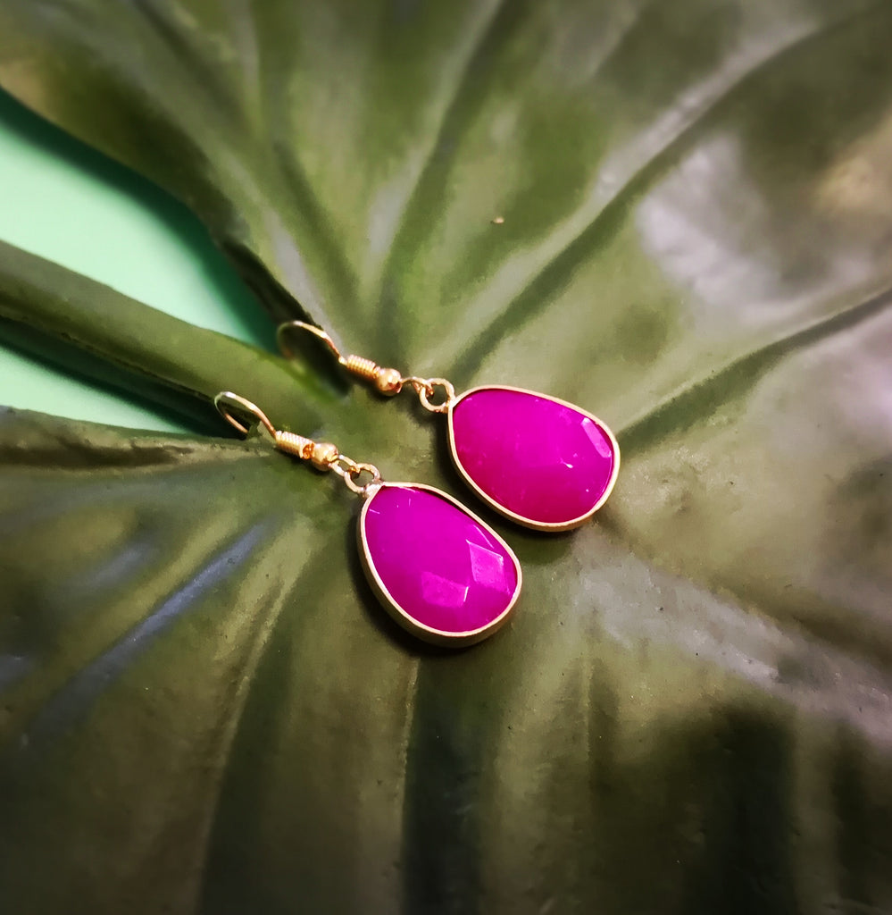 Faceted Fuchsia Chalcedony Stone Drop Earrings
