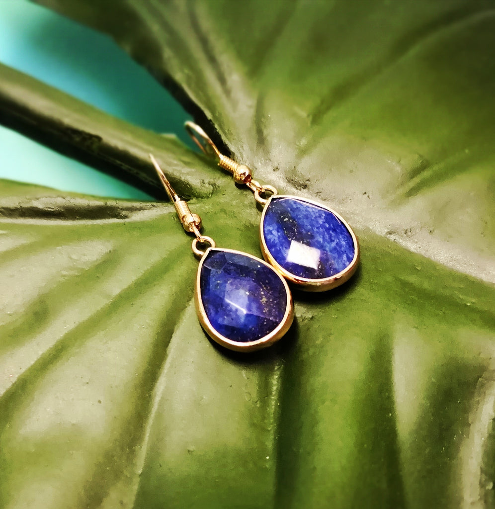 Faceted Lapis Lazuli Stone Drop Earrings