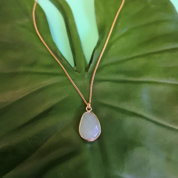 Faceted Aventurine Stone on Gold Necklace