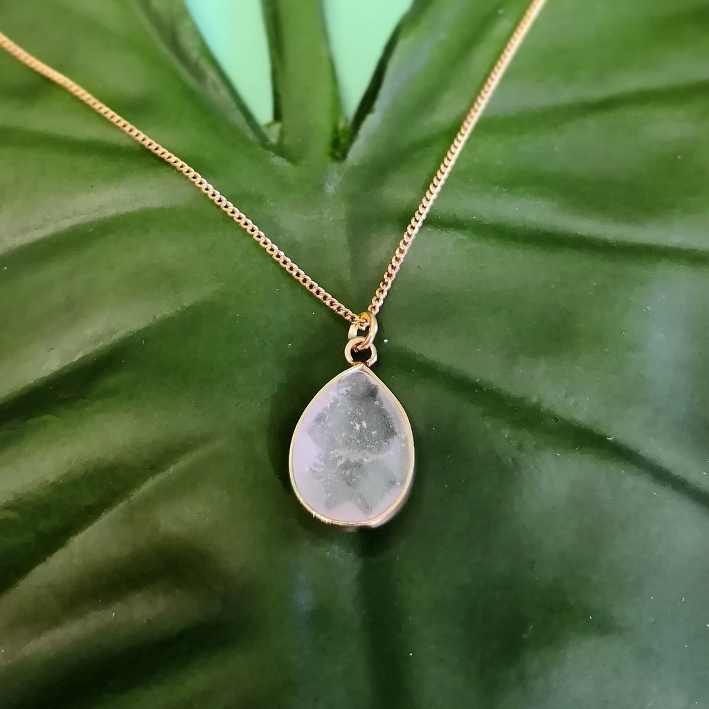 Faceted Clear Quartz Stone on Gold Necklace