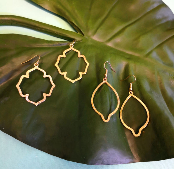 Moroccan gold cross earrings