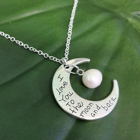 Love you to the moon and back necklace with freshwater pearl