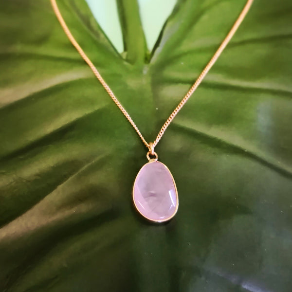 Faceted Rose Quartz Stone on Gold Necklace