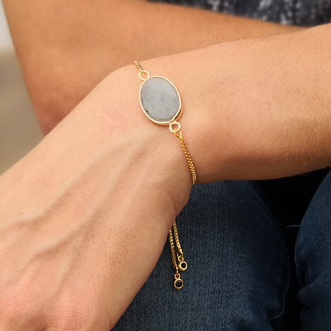 Faceted Labradorite Stone Adjustable Gold Bracelet