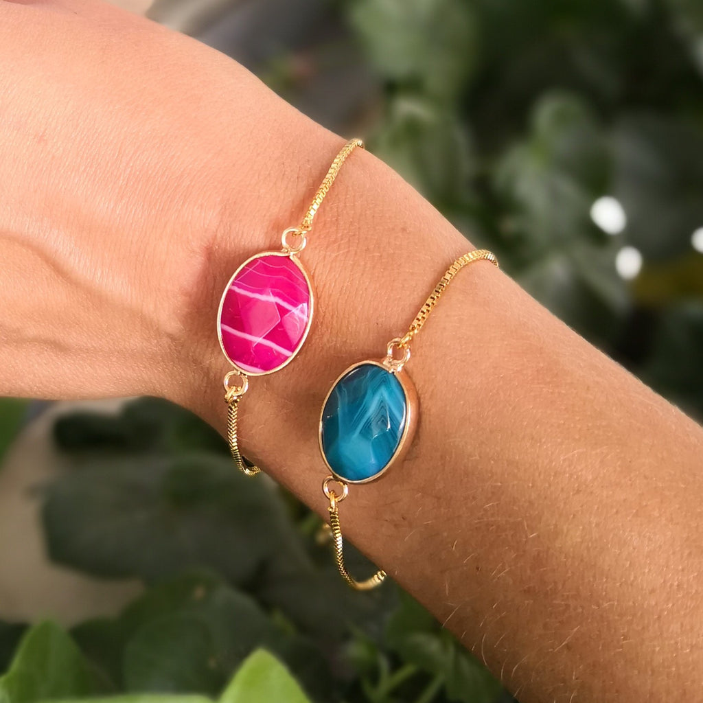 Faceted Pink and Blue Onyx Stone Adjustable Gold Bracelets