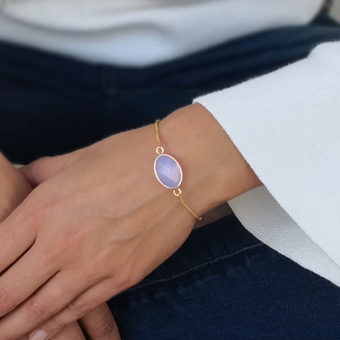 Faceted Opalite Stone Adjustable Gold Bracelet