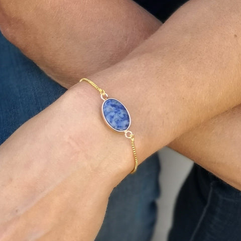 Faceted Sodalite Stone Adjustable Gold Bracelet