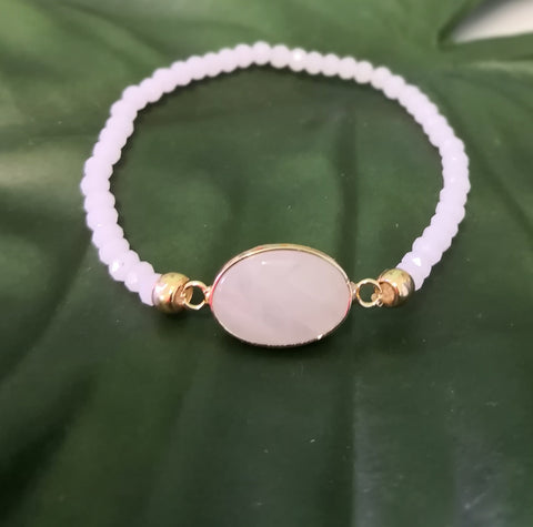 Rose Quartz Stone on stretch crystal bead bracelet