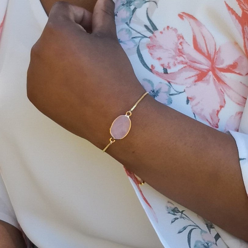 Faceted Rose Quartz Stone Adjustable Gold Bracelet