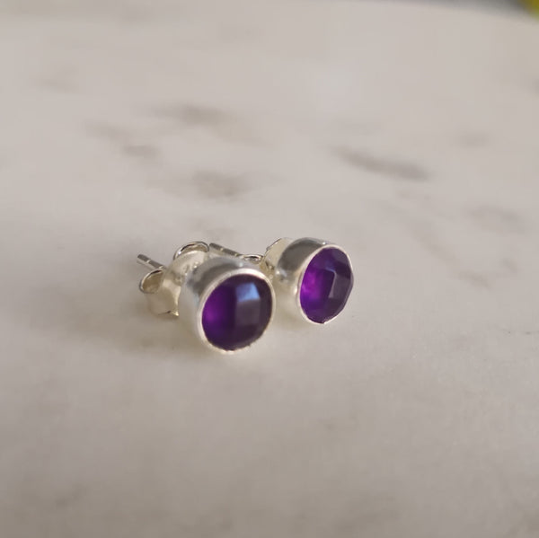 Amethyst Stone Sterling Silver Stud Earrings