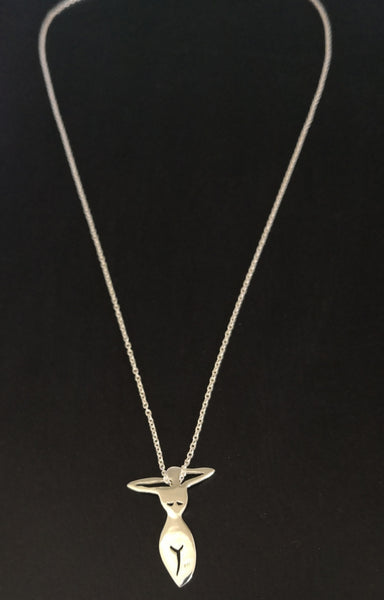 Curvy Lady Silhouette Necklace - Sterling Silver 925