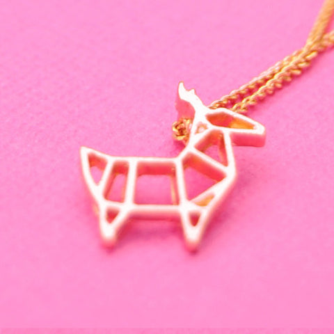 Origami deer stag pendant charm necklace rose gold chain