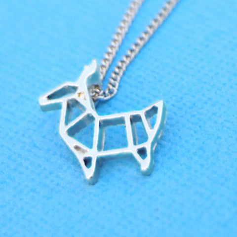 Origami deer stag pendant charm necklace silver chain