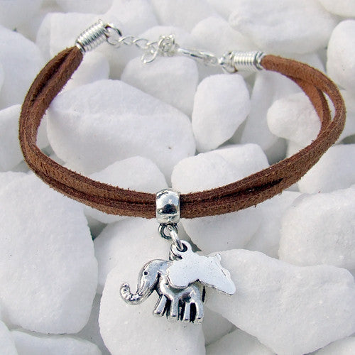 Suede bracelet Africa Elephant Pendant Charm Silver brown