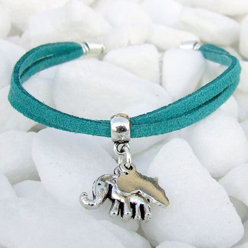 Suede bracelet Africa elephant pendant charm silver teal