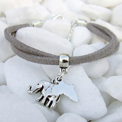 Suede bracelet Africa elephant pendant charm silver grey