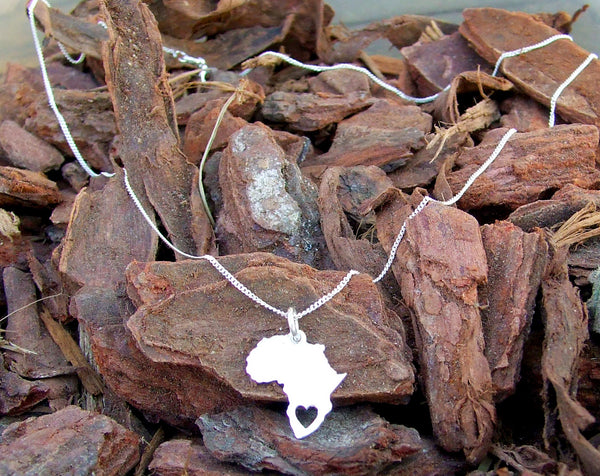 sterling silver 925 Africa heart Necklace charm chain pendant