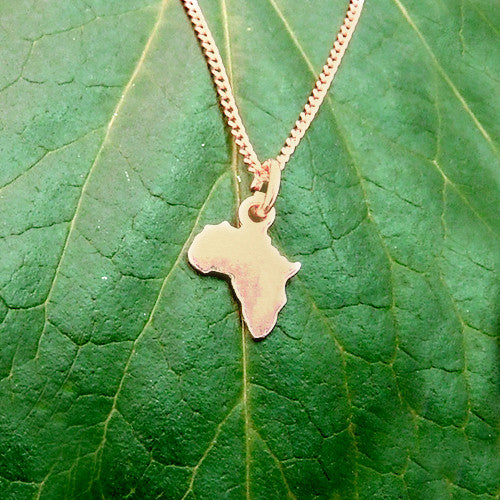 Africa pendant charm necklace rose gold