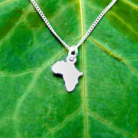 Silver Africa necklace pendant charm chain