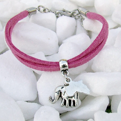 Suede bracelet Africa elephant pendant charm silver pink