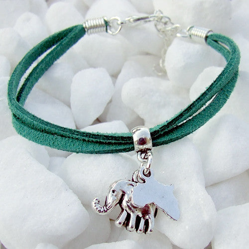 Suede bracelet Africa elephant pendant charm silver green