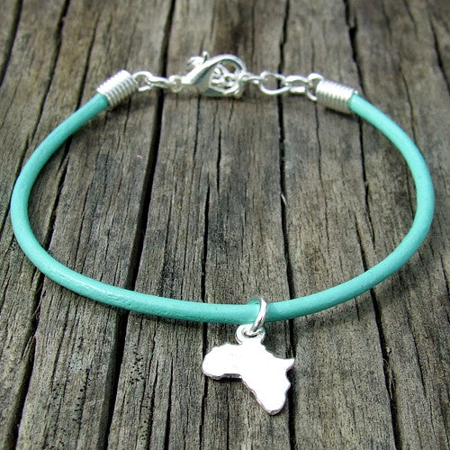 rolled leather Africa pendant charm bracelet aqua