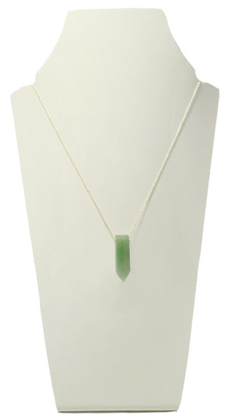 aventurine crystal stone necklace silver chain