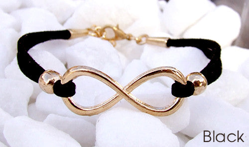 Eden Art rose gold infinity suede bracelet black