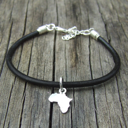 rolled leather Africa pendant charm bracelet black