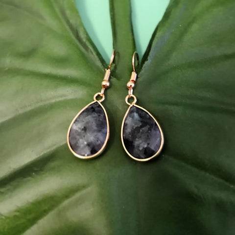 Faceted Black Labradorite Stone Drop Earrings