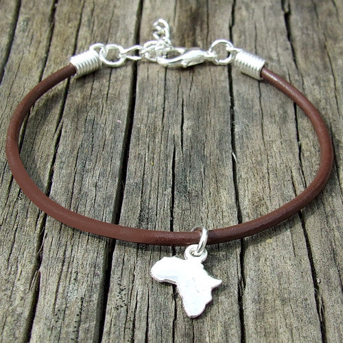 rolled leather Africa pendant charm bracelet brown