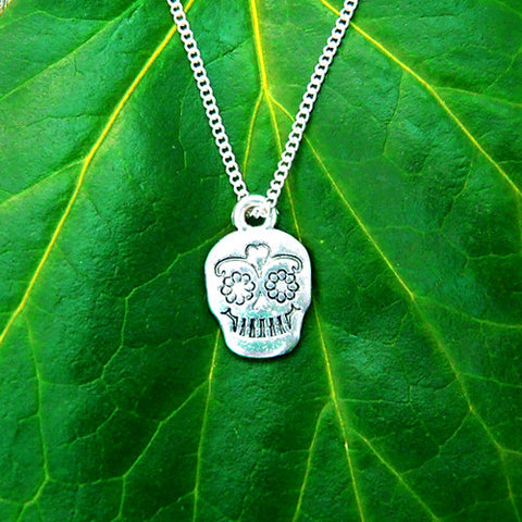 silver metal calavera sugar candy skull necklace chain pendant charm