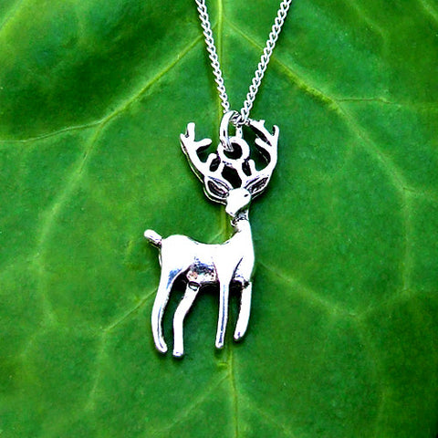 silver metal stag deer pendant charm necklace chain