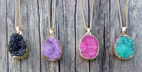 Eden Art drusy druzy stone necklace collection