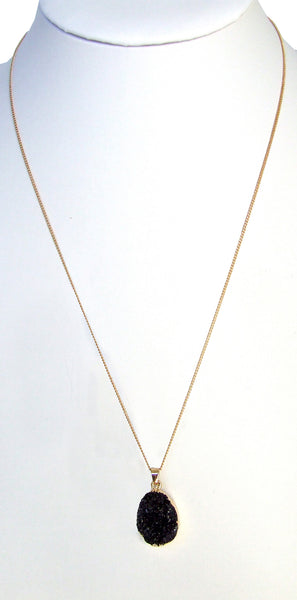 gold chain druzy drusy black quartz necklace