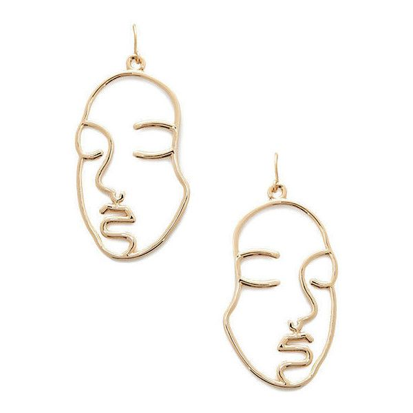 Gold face outline earrings