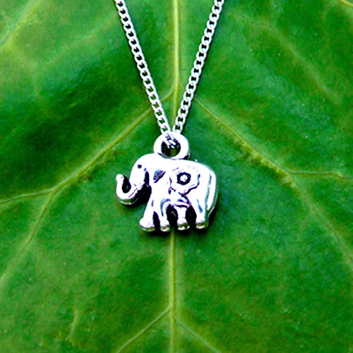 silver metal elephant flower pendant charm necklace chain
