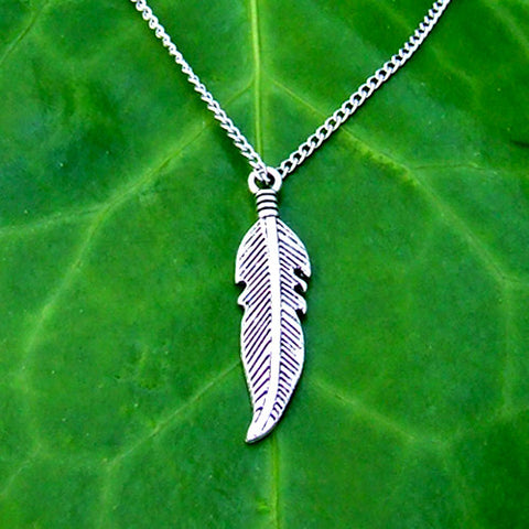 silver metal feather charm pendant necklace chain
