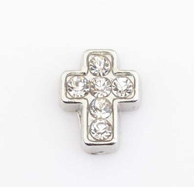 Diamante Cross Floating Charm