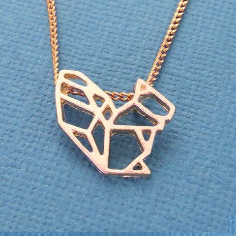 Origami squirrel pendant charm necklace rose gold chain
