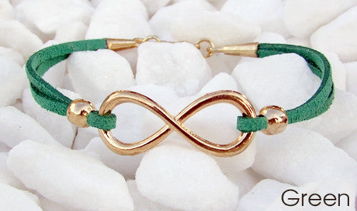 Eden Art rose gold infinity suede bracelet green